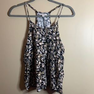 American Eagle Black & Brown Floral Tank Small